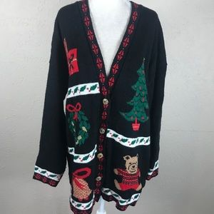 Vintage 80s plus size ugly Christmas sweater 2x